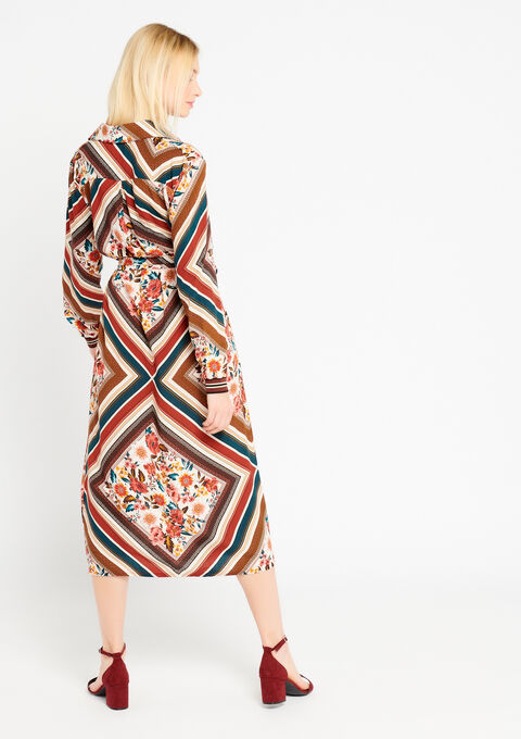 Lange jurk met bloemenprint - CAMEL TRUSH - 08600097_3808