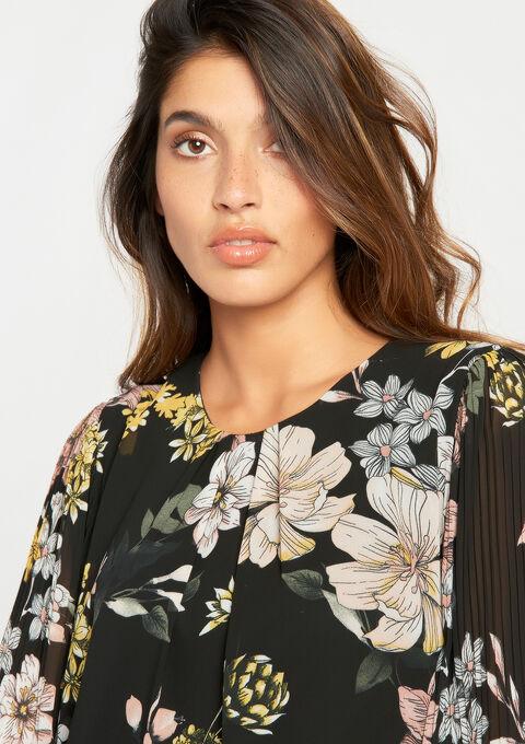 Plissé-jurk, bloemenprint, 3/4 mouwen - BLACK - 08100635_1119
