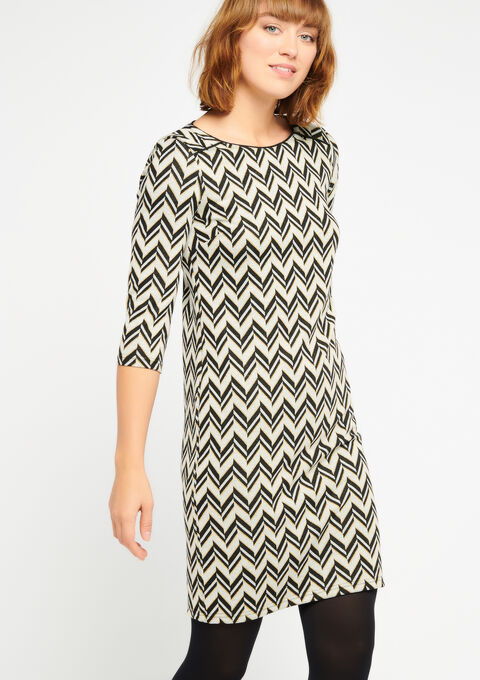 Jurk met zigzagpatroon en boothals - LIGHT GREY - 08100103_1076