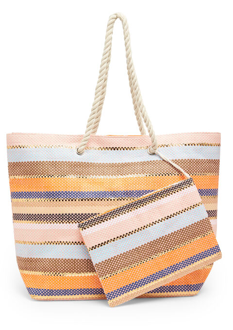 Striped beach bag + smaller bag - CORAL EMBERGLOW - 939436