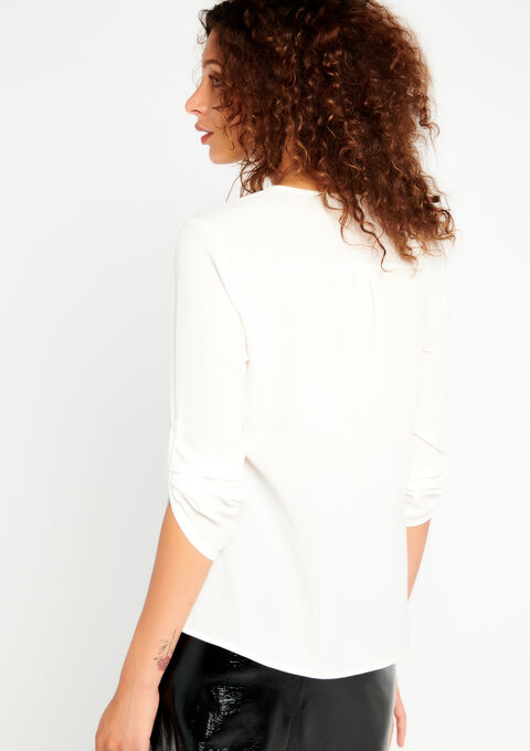 Unicolor blouse with contrasting lace - OFFWHITE - 05700093_1001