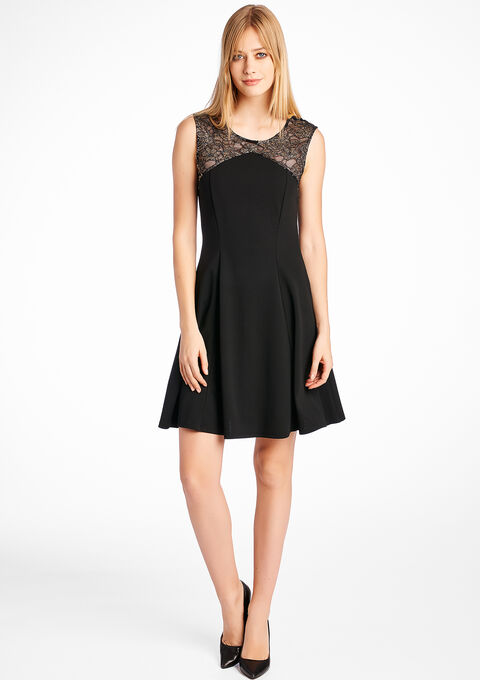 220698108e81 Sleeveless dress with lace shoulders - BLACK - 08004808 1119
