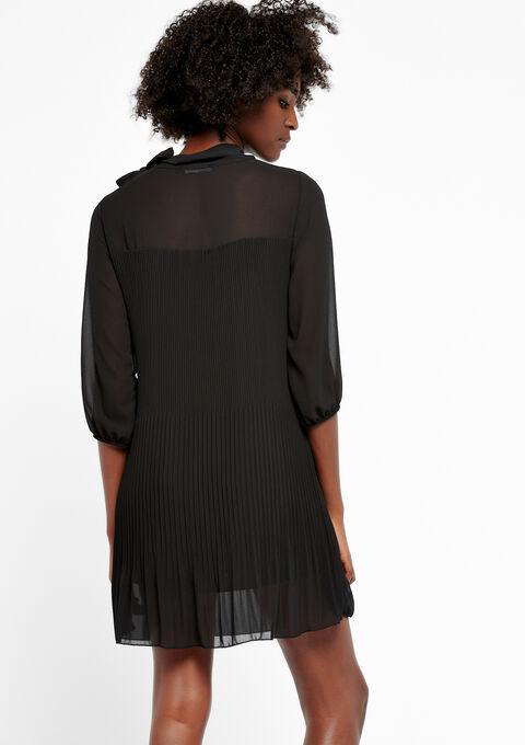 Plisséjurk met strikkraag - BLACK - 08100579_1119