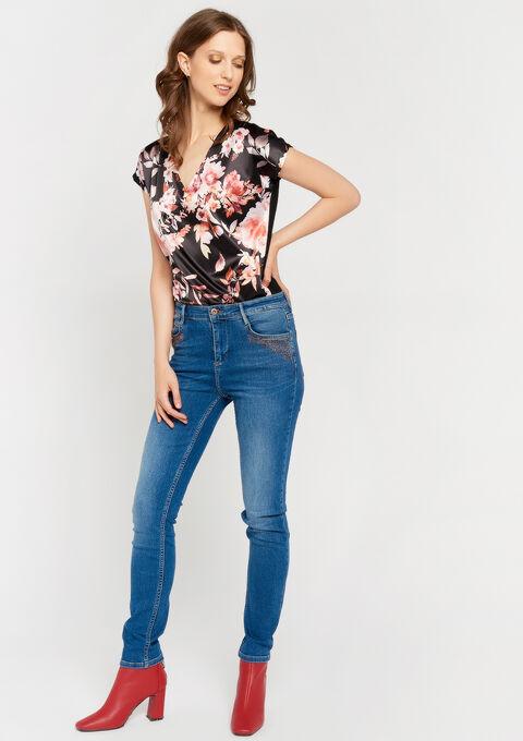 2 stoffen t-shirt met bloemenprint - BLACK - 02300492_1119