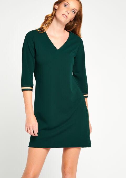 Straight Dress V Neck 3 4 Sleeves Lolaliza