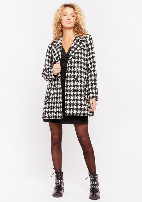 Mantel met pied-de-poule print - BLACK & WHITE MEL - 974912