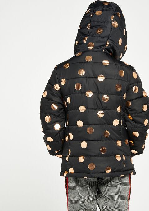 Gewatteerde jas met bollenprint & kap - BLACK - 10000720_1119