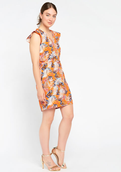 Jurk met v-hals & tropische print - BRIGHT ORANGE - 951684