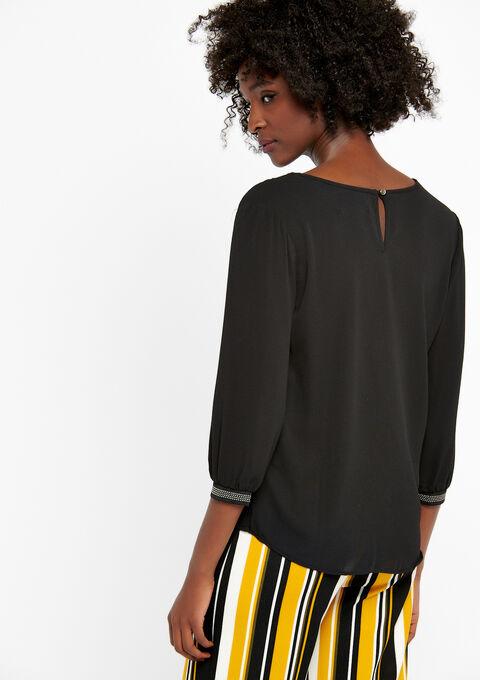Effen blouse met v-hals - BLACK BEAUTY - 05700155_2600