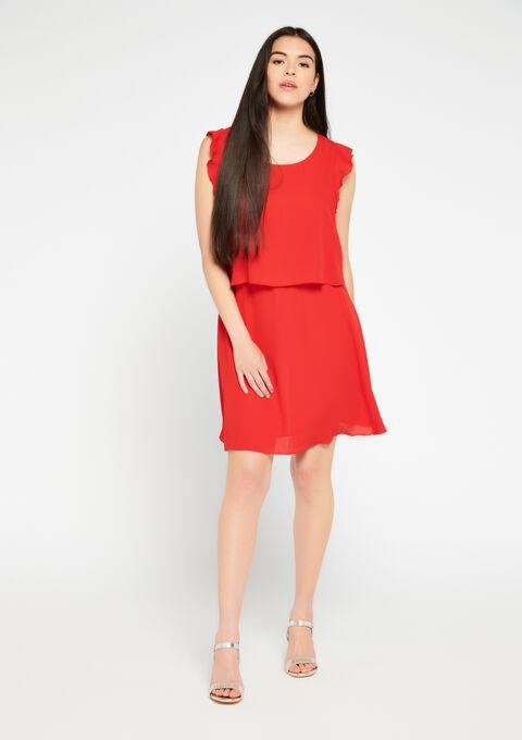 Korte jurk A-lijn ruches - CORAL GERBERIA - 08101209_5405