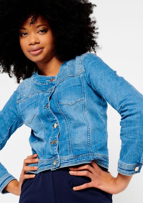 Jeansvest met glitter - LIGHT BLUE - 09100123_1709