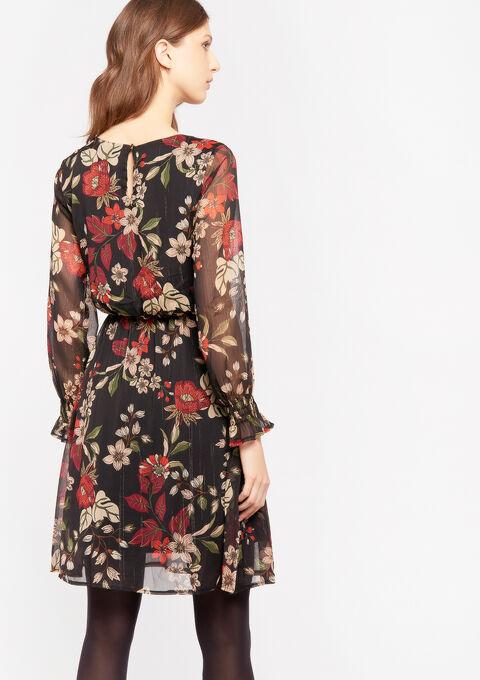 Mini jurk met bloemenprint - BLACK - 08102008_1119