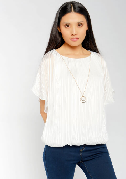 Blouse with necklace - OFFWHITE - 05700407_1001