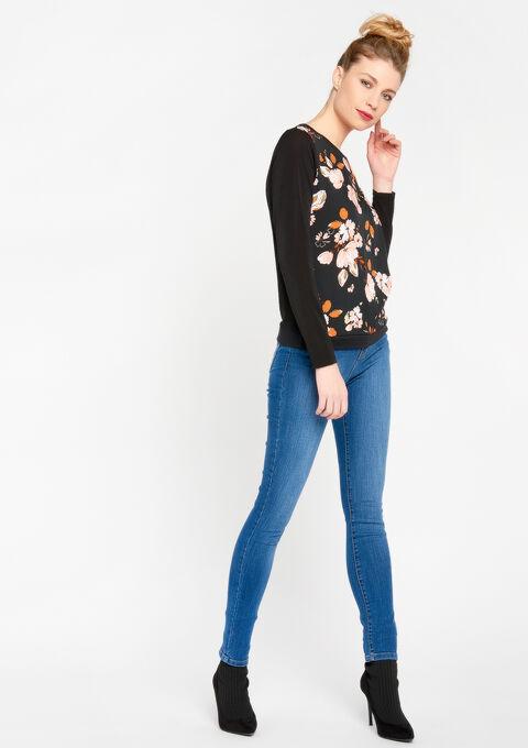 Sweater in 2 stoffen, ronde hals - BLACK - 03001324_1119