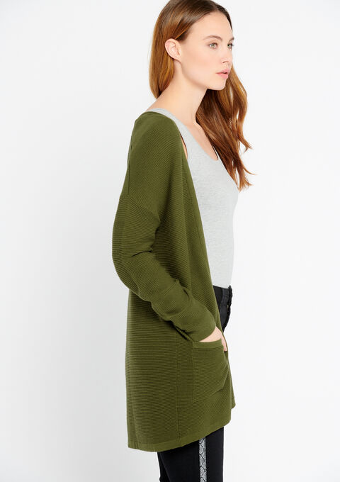 Lange cardigan in katoen - DARK OLIVE - 04100588_1886