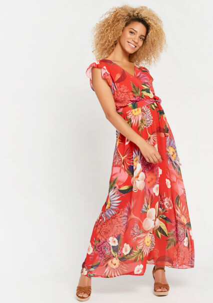 0665e344a3f558 Lange jurk met bloemenprint - CORAL GERBERIA - 08600450 5405 ...