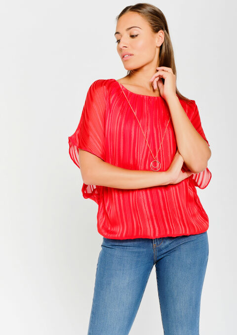 Blouse with necklace - REAL RED - 05700407_1393