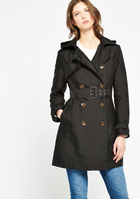 Double breasted trench coat - BLACK - 23000096_1119