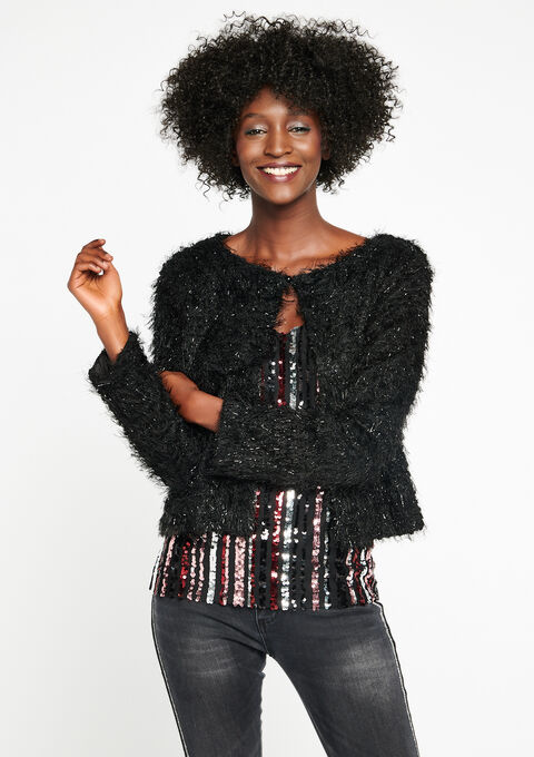 Korte jas in harige wol - BLACK - 09100116_1119