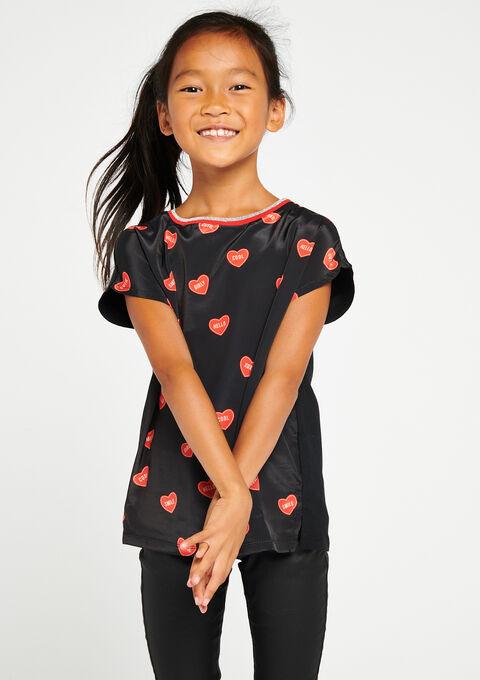 T-shirt in 2 stoffen met hartjesprint - BLACK - 907340