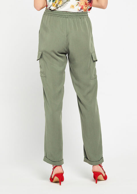 Cargobroek in  tencel - KHAKI DUSKY - 06600098_4402