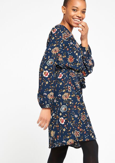 Bloemenjurk met lange mouwen - NAVY BLUE - 08100361_1651