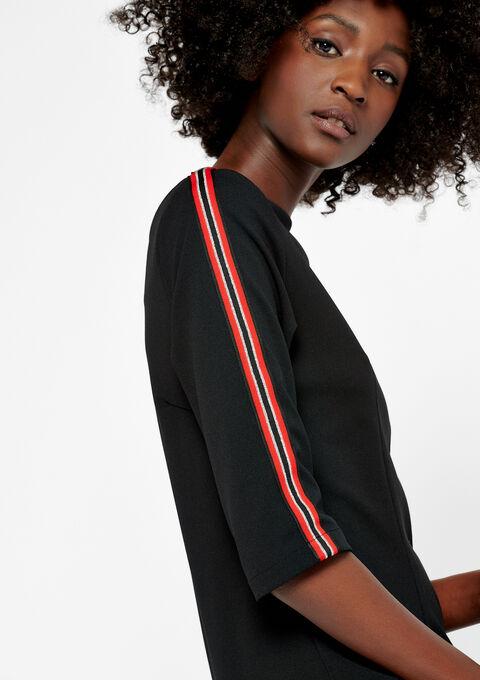 Rechte jurk met rits, 3/4 mouwen - BLACK - 08100550_1119