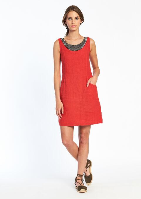 Effen jurk met korte mouwen - TOMATO FLAME - 08005034_1457