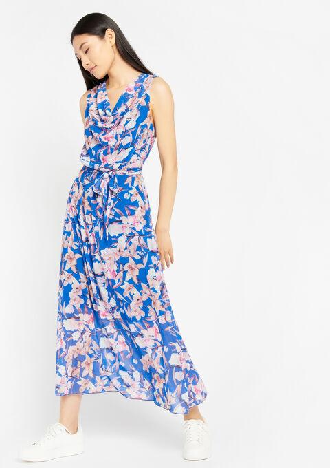Lange jurk met bloemenprint - BLUE QUARTZ - 08600123_2804