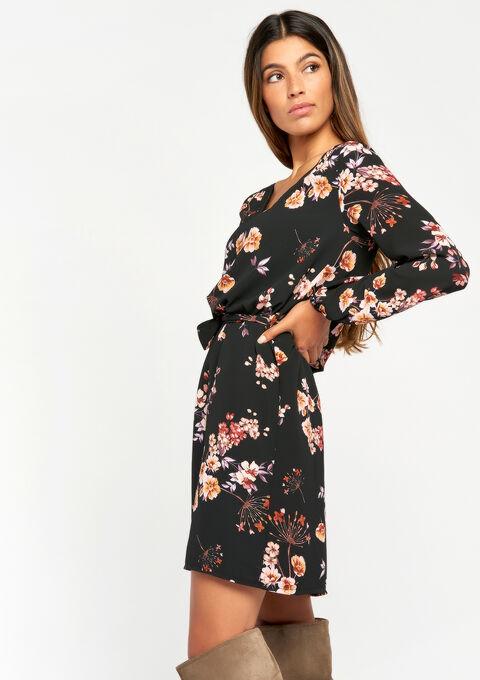 Long-sleeved floral dress - BLACK - 08100304_1119