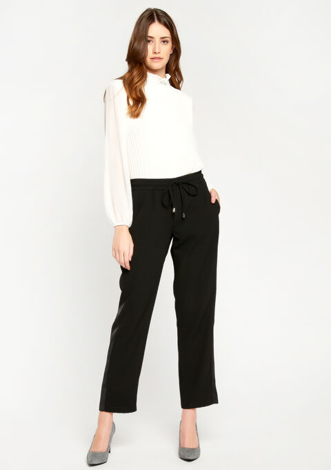 Elegante jog pants met tape in satijn - BLACK - 06600069_1119