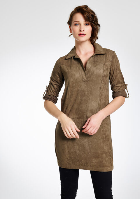 Suede jurk met lange mouwen - KHAKI - 794451