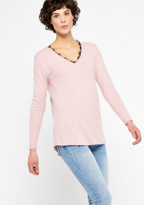 Sweat met v-hals en kant - PINK CALM - 03001340_4102
