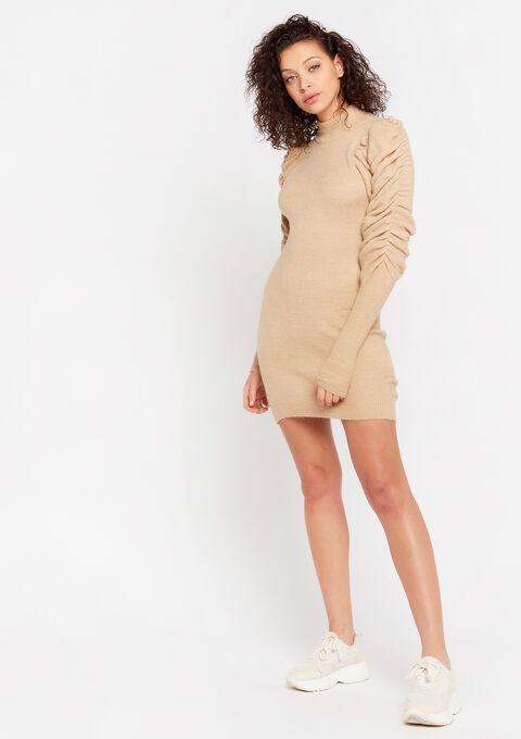 Trui-jurk met pofmouwen - TAUPE - 08102108_1021