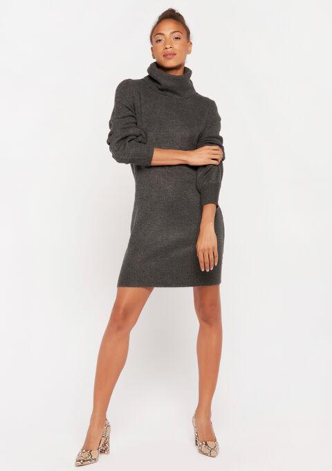 Robe pull col roulé - BLACK GREY MARL - 949604