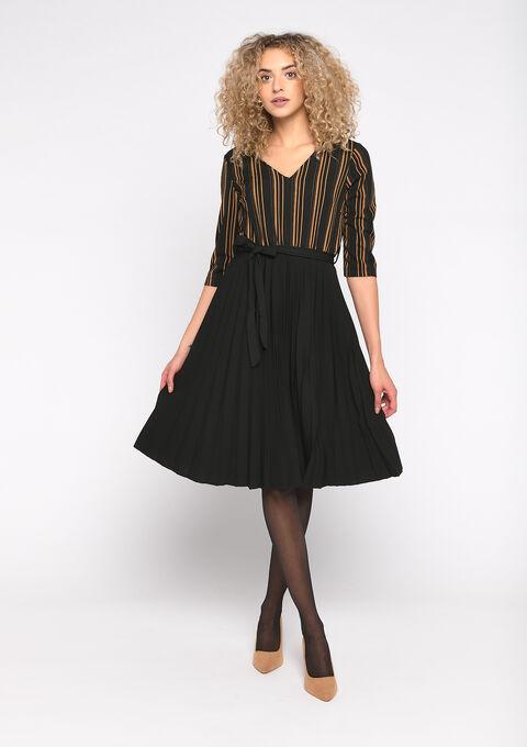 Striped skater dress - CARAMEL - 08101622_1953