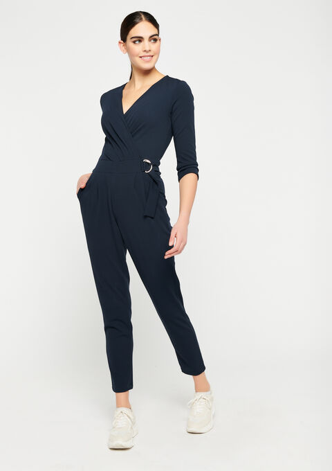 Wrap style jumpsuit - NAVY POWER - 06004038_2719
