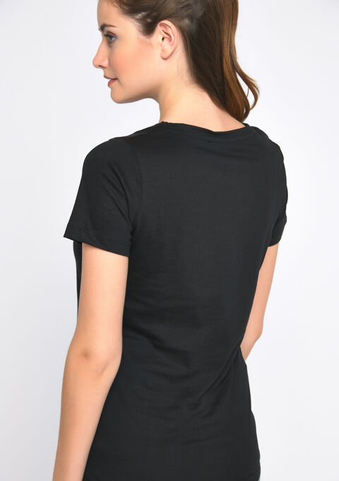 T-shirt message print - BLACK - 02300398_1119