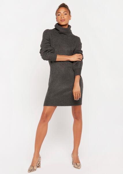 Trui-jurk met col - BLACK GREY MARL - 08100722_3408
