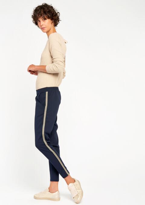 Losse broek met streep opzij - NAVY BLUE - 06003761_1651