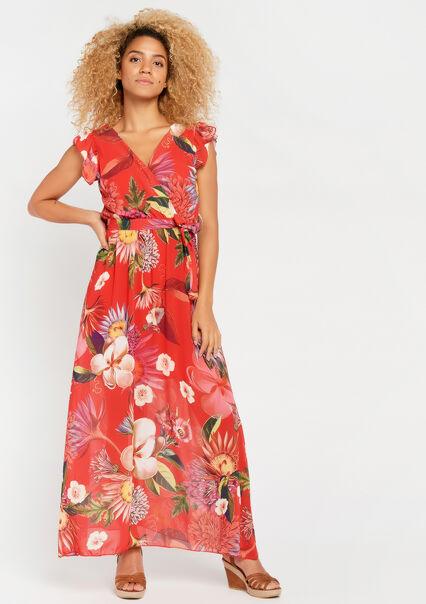 7021e7693c97c3 ... 08600450 5405 Lange jurk met bloemenprint - CORAL GERBERIA -  08600450 5405