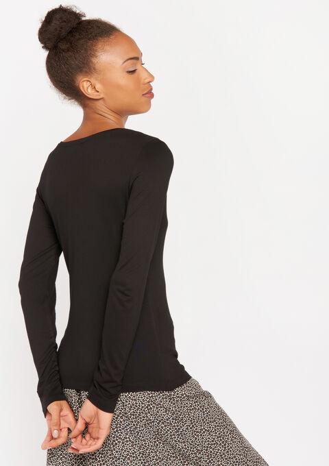 T-shirt met v-hals en lange mouwen - BLACK - 02400067_1119