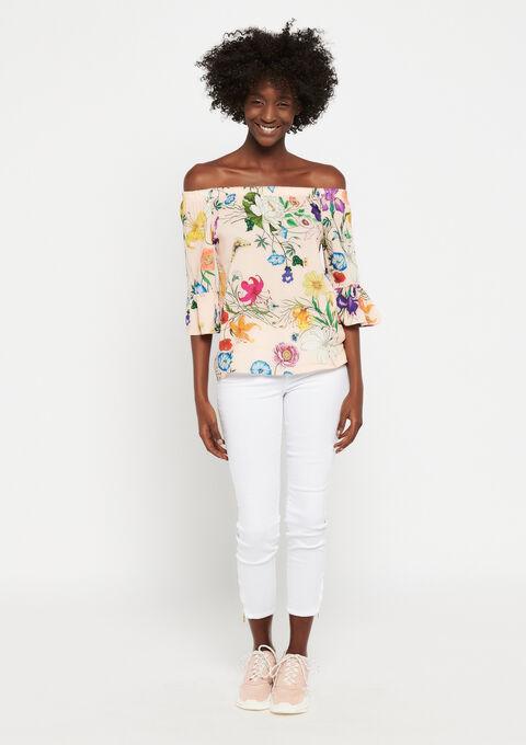 Carmen blouse met bloemenprint - PINK CALM - 05700511_4102