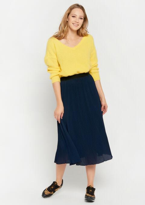 Jupe longue, plissée - NAVY BLUE - 07100229_1651