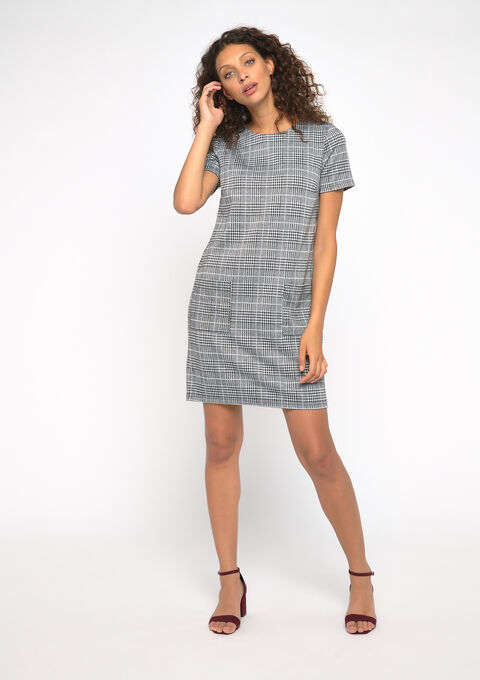 Robe mini carreaux - GREY - 08100715_1062