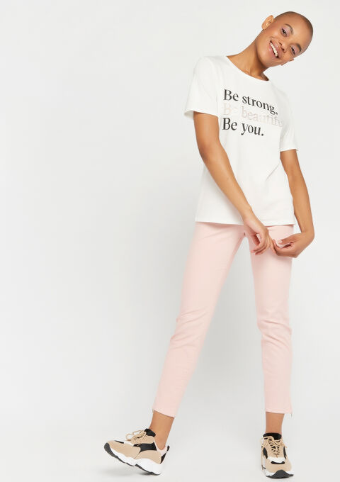 T-shirt met slogan - WHITE ALYSSUM - 02300274_2502