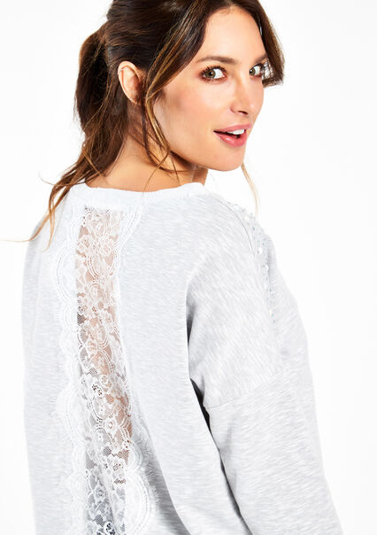 Sweat met kant & parels - WHITE GREY MEL - 03001150_1078