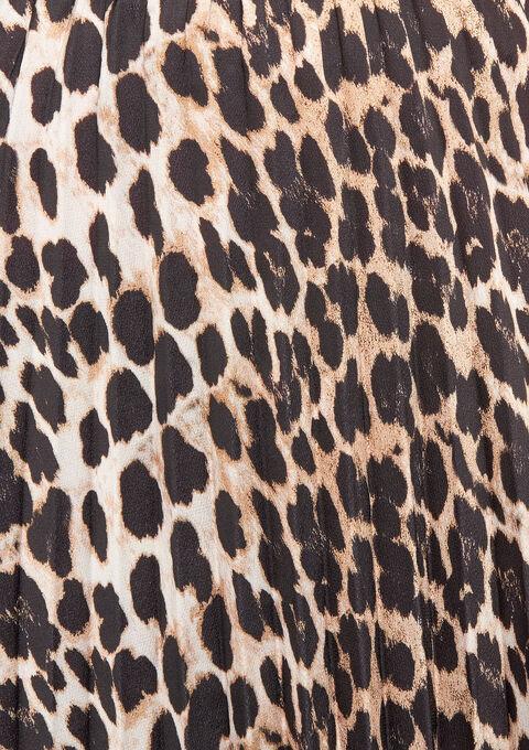 Halflange  plissérok met luipaardmotief - BLACK - 07100051_1119