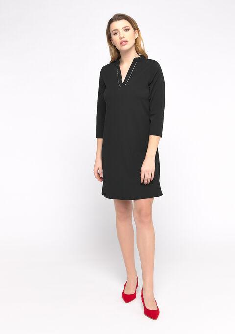 Rechte jurk met oosterse kraag - BLACK - 08102134_1119