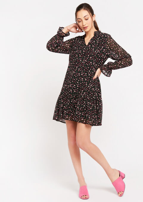 Babydoll jurk met liberty print - PINK FRAMBOISE - 08102143_5622